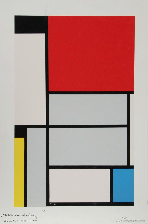 "Pieter Cornelis ""Piet"" Mondriaan, after 1906 Mondrian (March 7, 1872 – February 1, 1944)  Tableau I  Oil on canvas, 1921  96.5 cm x 60.5 cm  Museum Ludwig, Cologne"