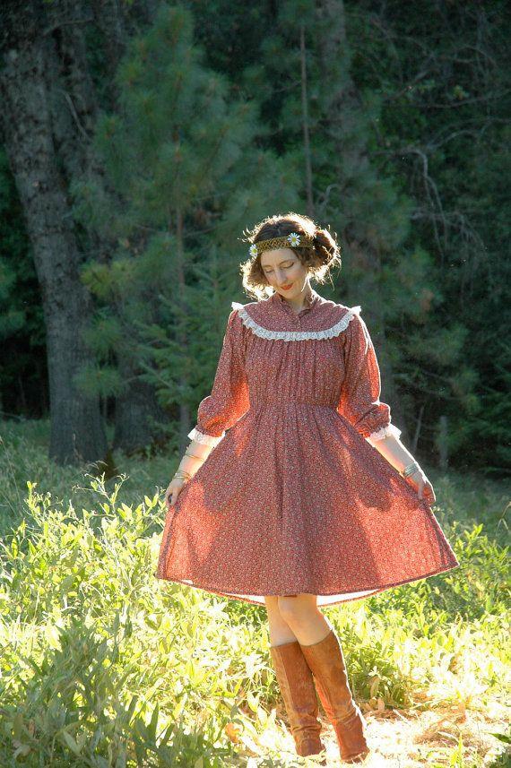 1970s Boho Dress... 70s Cotton Floral Dress... by AstralBoutique, $38.00
