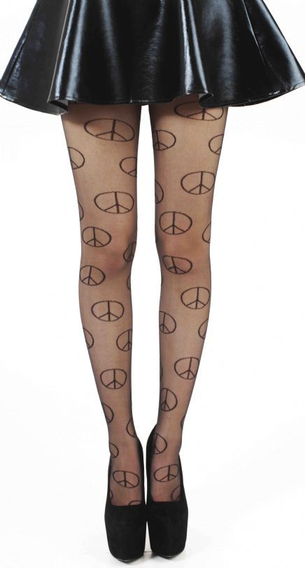 Buy Black Sheer Peace Tights