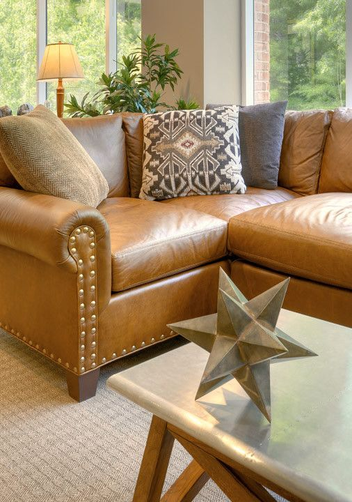 brown sectional sleeper sofa cat proof slipcovers rustic leather set loveseat rustics ...
