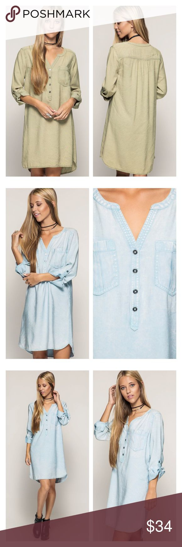 Roll up sleeve shift dress Roll up sleeve shift dress does not come with belt Dresses Long Sleeve