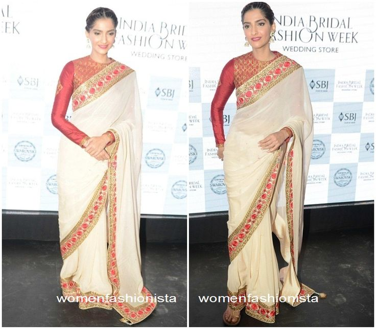 Sonam Kapoor in beige saree and red full sleeve blouse