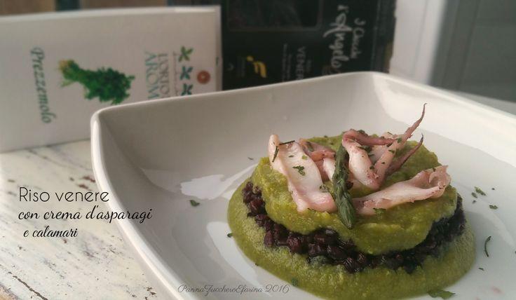 Riso venere con crema di asparagi e calamari