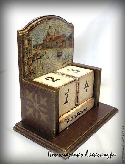 """Вечный календарь """"Венеция"""" - коричневый,календарь,календарь ручной работы"""