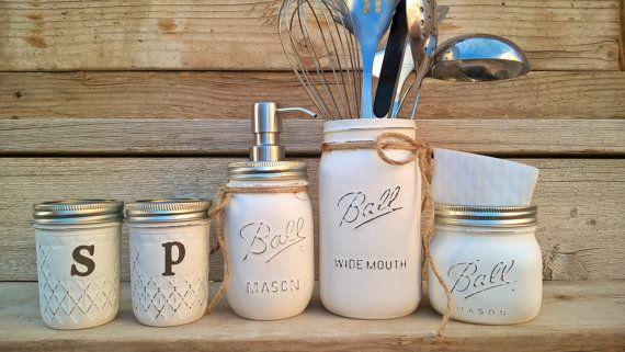 etsy - Mason Jar Kitchen Set-Rustic Kitchen-Salt and Pepper