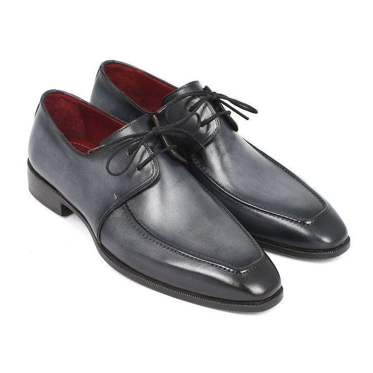 Paul Parkman Gray & Black Apron Derby Shoes For Men (ID#13SX51)