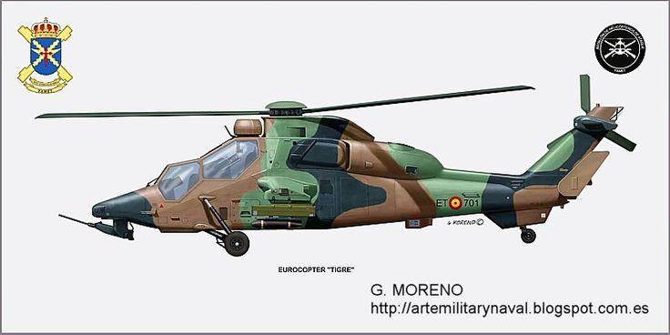 #lustracion #military de un #helicopter de #guerra eurocopter tigre FAMET del #army de #España