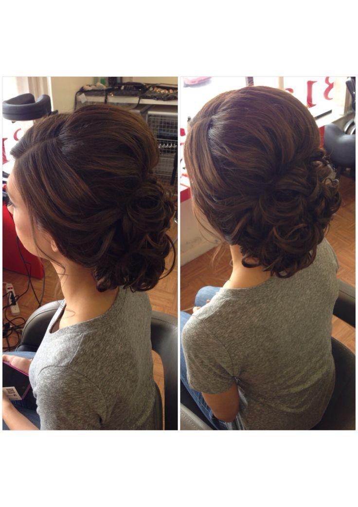 Curly bun, low curly bun, updo, bridal hair, wedding hair, prom hair, bridesmaid hair, homecoming hair, short hair updo, summer wedding hair, beautybyverlin