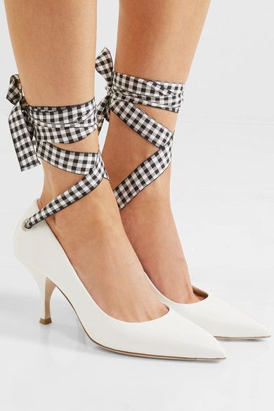 Heel measures approximately 75mm/ 3 inches White leather  Ties at ankle Made in Italy