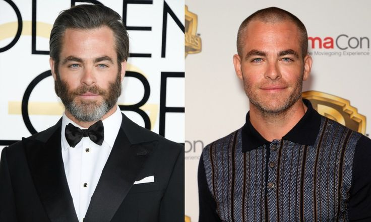 """CHRIS PINE  All off! Chris Pine debuted his shaved head and face on March 29 at CinemaCon. The Wonder Woman star admitted that his new look isn't for a role, but rather something that was done out of sheer boredom after being sick at home for a few days.  """"Yes I did it myself, I used clippers,"""" he told USA Today. """"I went through phases. So I had long hair and a beard. And first I did a facial hair thing. That was fun. I did the mustache. I did a little General Sherman...'"""