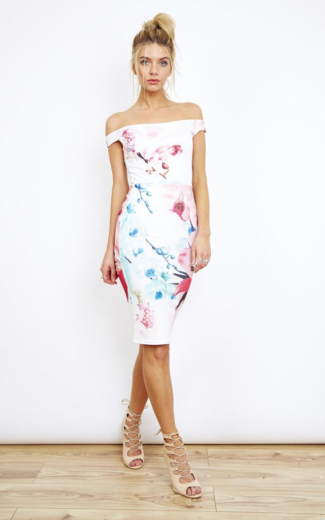 1cb3ff521bf8 Off Shoulder Floral Bodycon Dress By Lilah Rose | My Style | Dresses,  Bodycon fashion, Summer wedding outfits