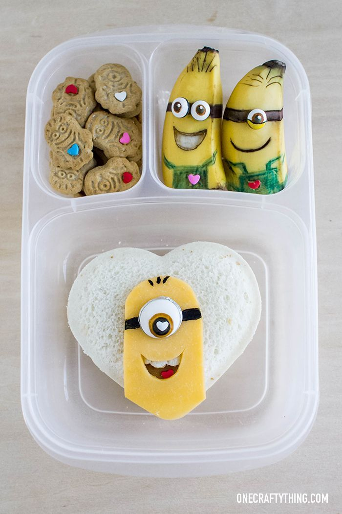 One in a Minion Valentine's Day Lunch   OneCraftyThing.com - packed with #easylunchboxes containers