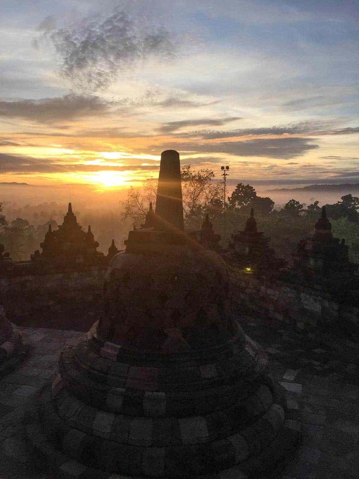 Sunrise at the temple in Borobudur Indonesia
