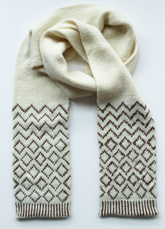 This scarf uses Novita Nalle (Teddy Bear) yarn and scarf´s both ends are worked in fair isle pattern. Scarf is worked on double pointed needles and uses stocking stitch pattern in round. #novitaknits #knitting #knits  https://www.novitaknits.com/en/en