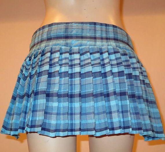 "Blue plaid pleated skirt~Pleated Plaid sport's Skirt~Small to Plus size skirts~16"" to 18"" Long Tennis Beach skirt custom make@sohoskirts"