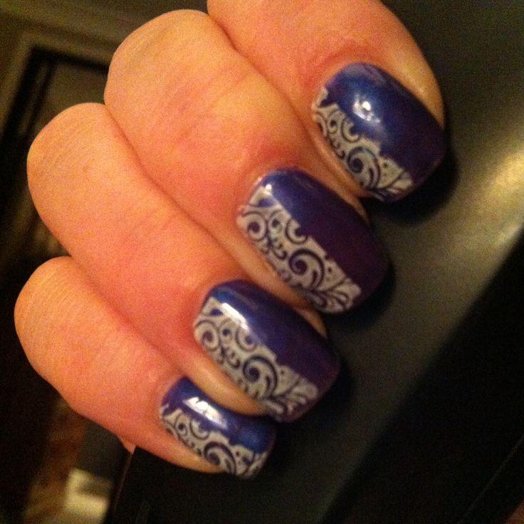 Shellac purple purple and nail stamping