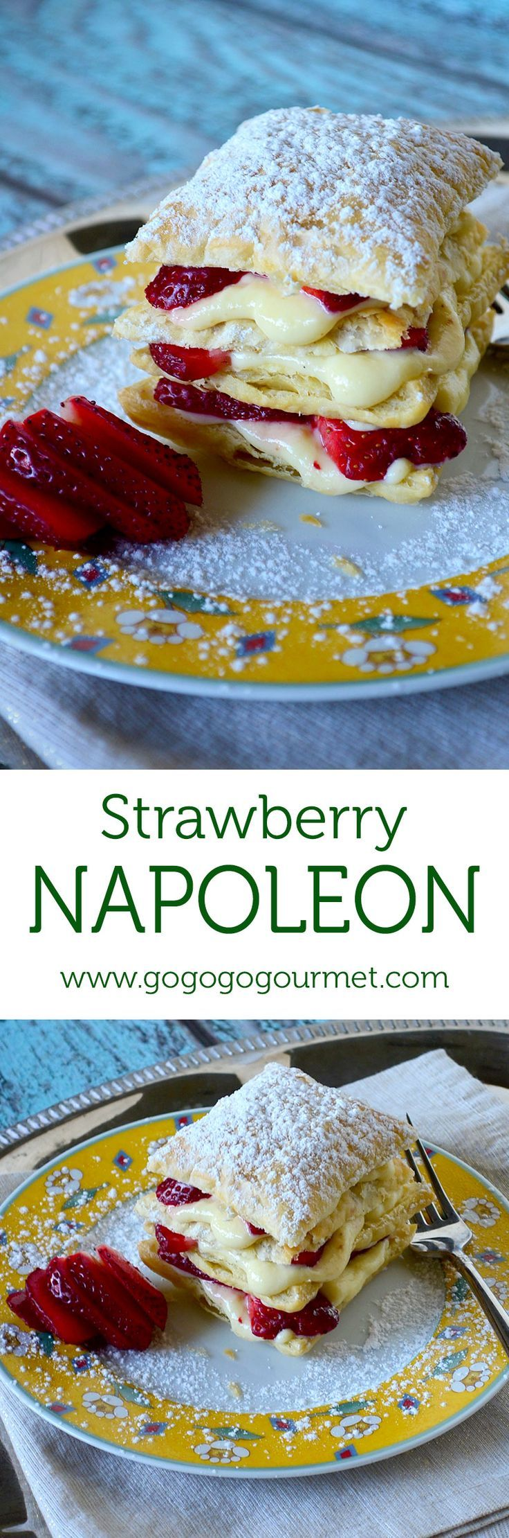 Loving the beautiful simplicity of these Strawberry Napoleons. Easy to do AND you can do most of the work ahead of time! | Go Go Go Gourmet /gogogogourmet/