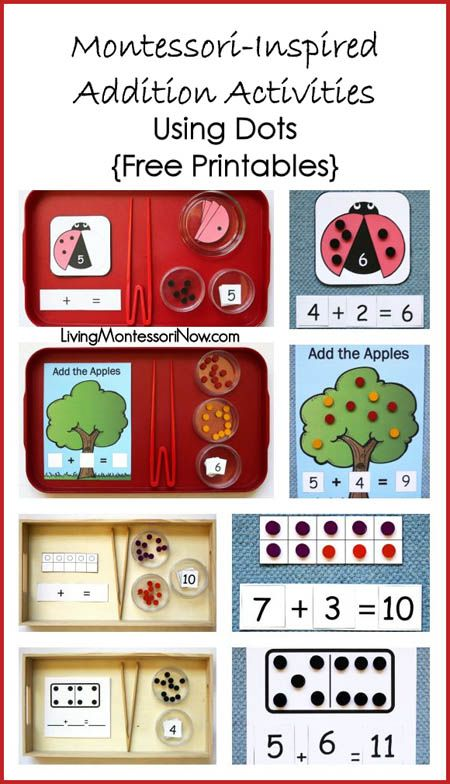 Montessori-inspired addition activities for preschoolers and kindergarteners, featuring free printables and Spielgaben wooden dots; post includes the Montessori Monday permanent linky collection