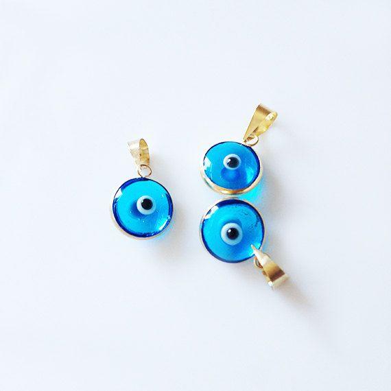 14K Gold Turquoise Evil Eye Pendant Evil Eye by LibertaDesign