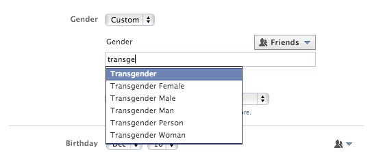 """Facebook has always pushed users to reveal their true identities on the service, and on Thursday, it took that commitment to a new level.  The social network now allows users to select a """"custom gender"""" for their profiles, meaning users who do not identify as male or female can select a neutral gender identity. Check out: http://mashable.com/2014/02/13/facebook-gender-options/"""