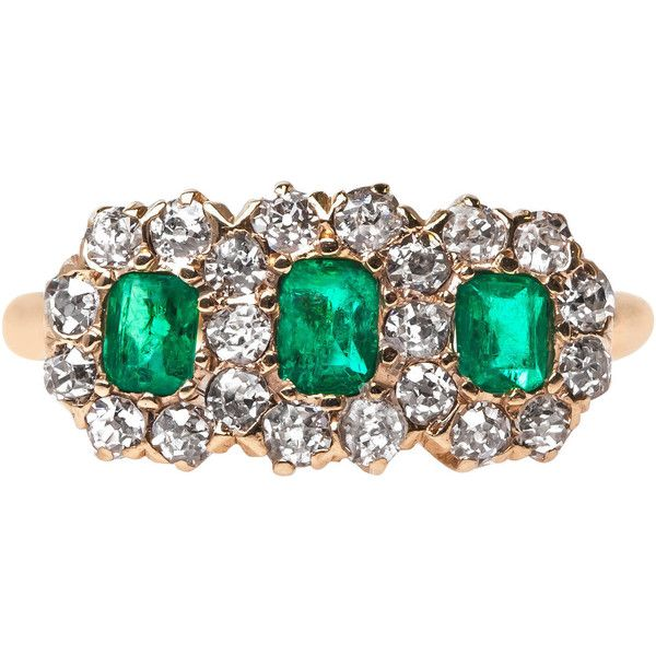 Pre-owned Late Victorian Three Stone Emerald Ring with Diamond Halo (5,790 CAD) ❤ liked on Polyvore featuring jewelry, rings, engagement rings, 14k ring, rectangle engagement rings, 3 stone ring and victorian engagement rings