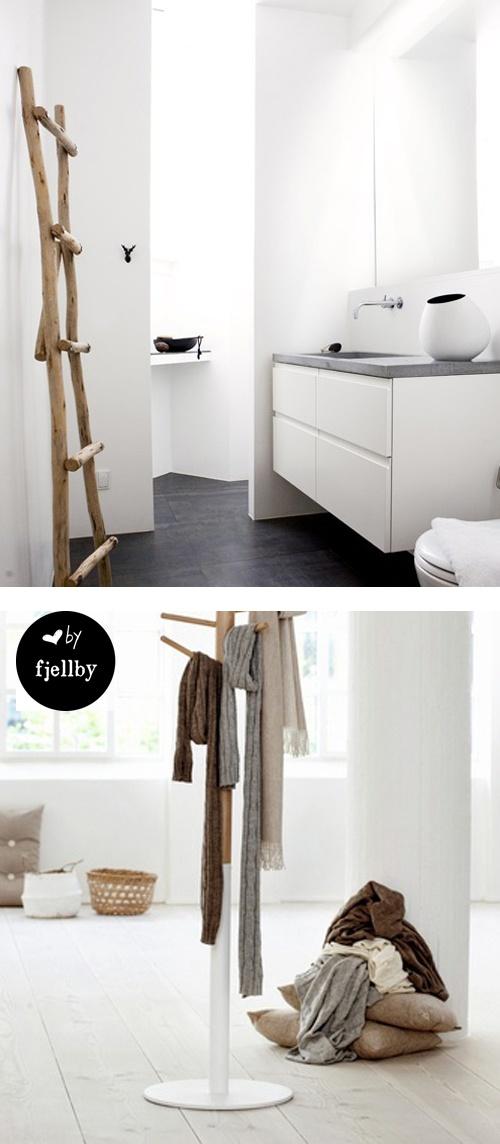 white bathroom and spacious living room