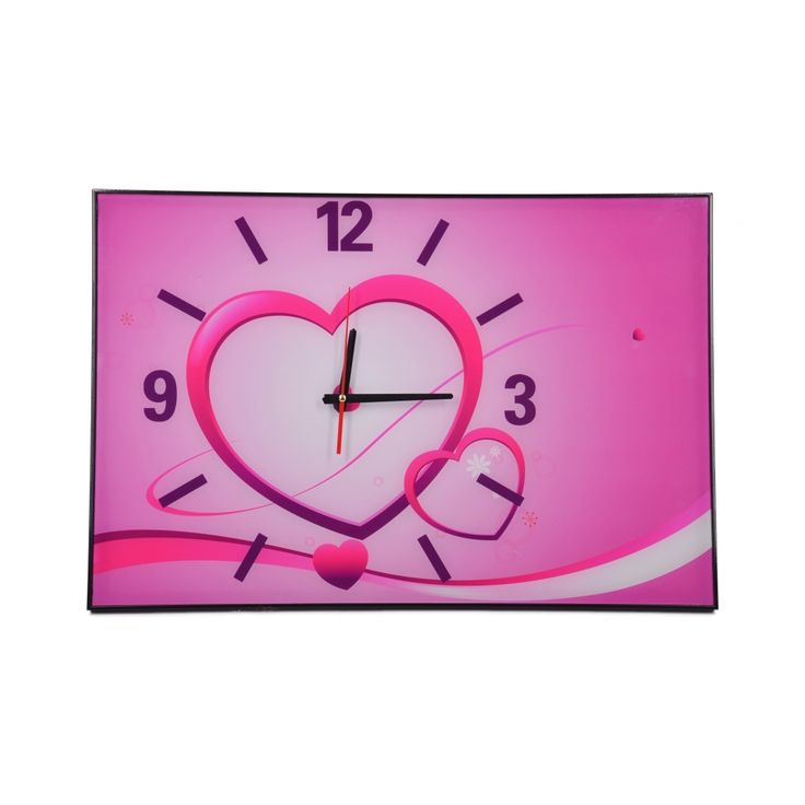 Różowy prostokąty zegar ścienny