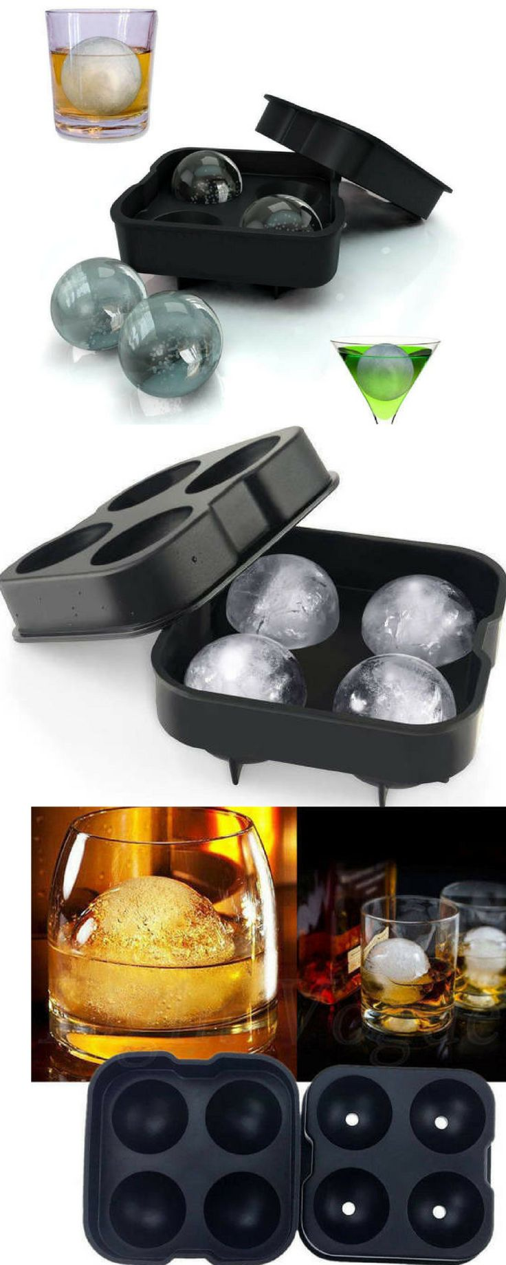 3 Large Ball Ice Cube Trays for Whiskey and Cocktails Ice Cube Molds #cocktails #icecubes #whiskey #affiliate