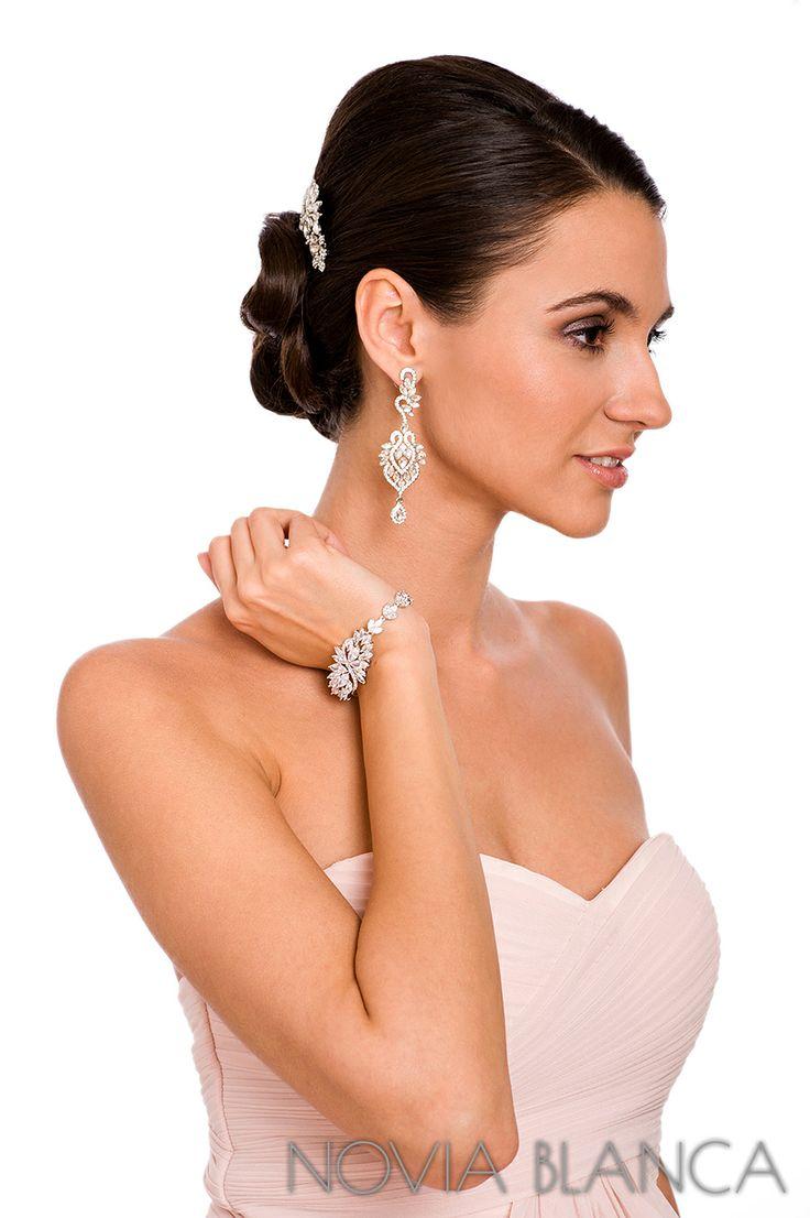 bridal jewelry and crystal comb by www.novia-blanca.pl biżuteria i grzebyk ślubny NOVIA BLANCA