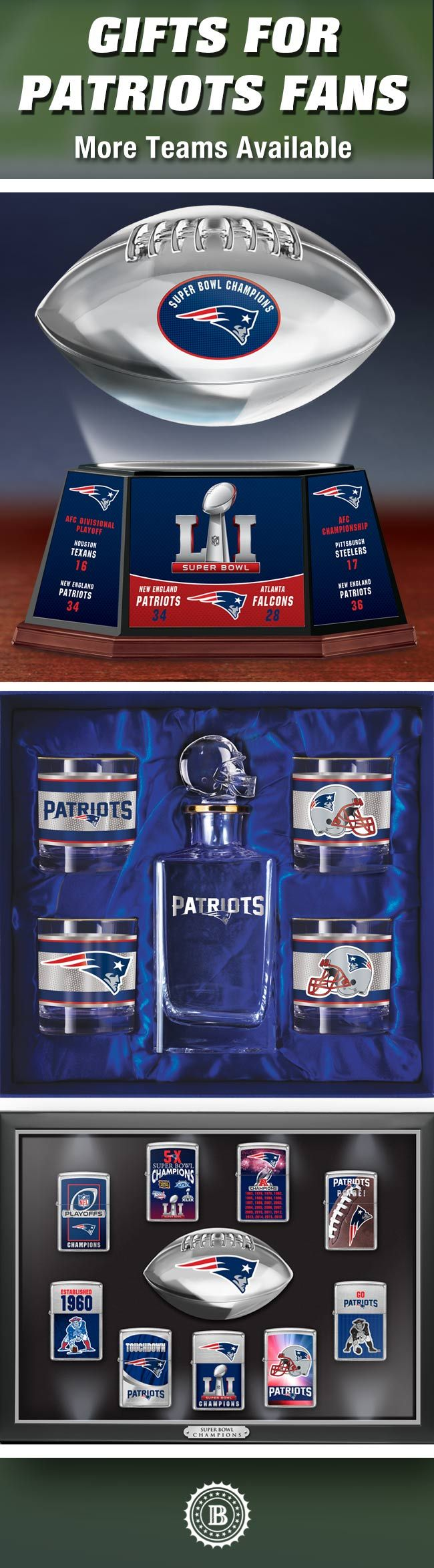 Find winning gifts for New England Patriots fans when you shop with us! Our exciting selection of officially-licensed Patriots collectibles, home decor, jewelry and more showcases the best of the NFL, so you are sure to score the perfect tribute.