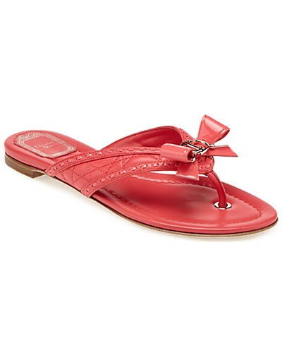 Christian Dior Lovely Cannage Leather Thong Sandal