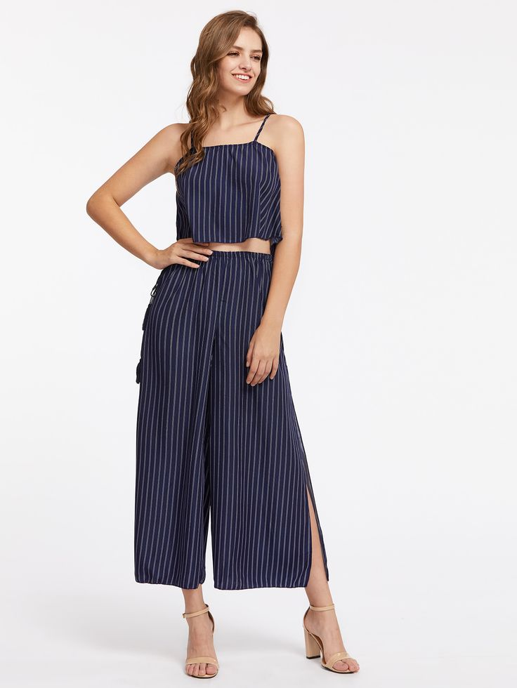 Shop Vertical Striped Cami Top With Split Wide Leg Pants online. SheIn offers Vertical Striped Cami Top With Split Wide Leg Pants & more to fit your fashionable needs.