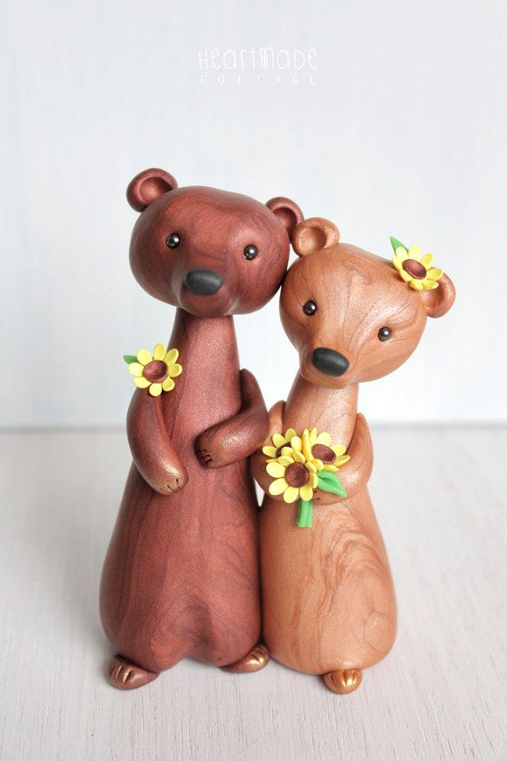 Personalized Bear Wedding Cake Topper animal by HeartmadeCottage