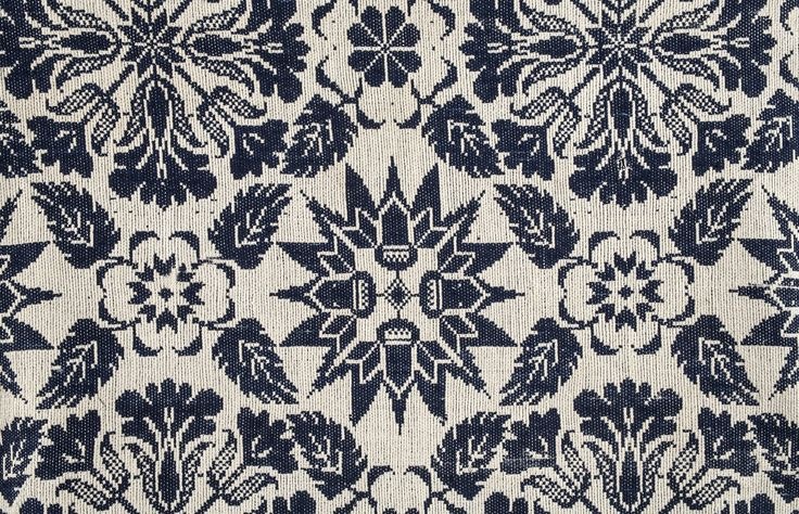 Figured and Fancy Coverlet, Carl Lewis Kean, wool and cotton, jacquard loom, ca. 1840, Jefferson County.