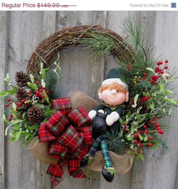 Christmas Wreath, Holiday Wreath, Woodland Décor, Irish Christmas, Elf Wreath