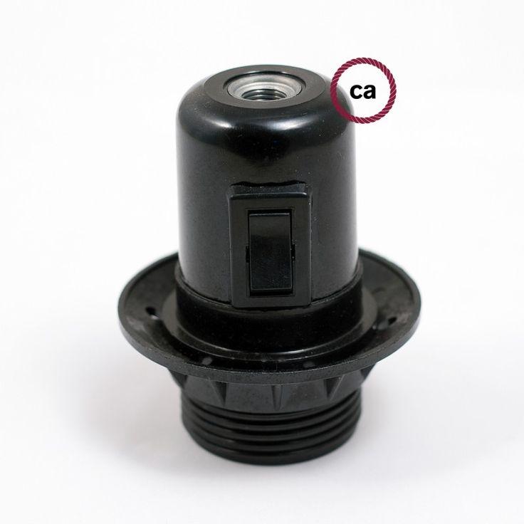 E27 Lamp Holder with Switch, semi-threaded, Black Bakelite