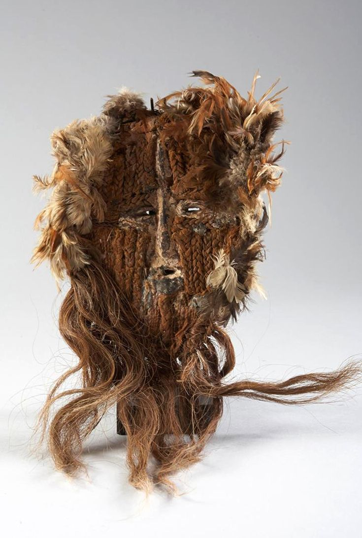 Africa | Mask from the Tabwa people of DR Congo | Wood, fiber, feathers