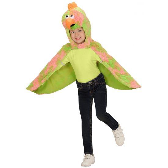 Vogel verkleedkostuum voor peuters. Deze verkleed cape met capuchon is geschikt voor kinderen van 2 tot 4 jaar. De cape is gemaakt van pluche stof.