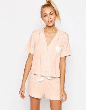 ASOS Traditional Shirt  amp  Short Pyjama Set