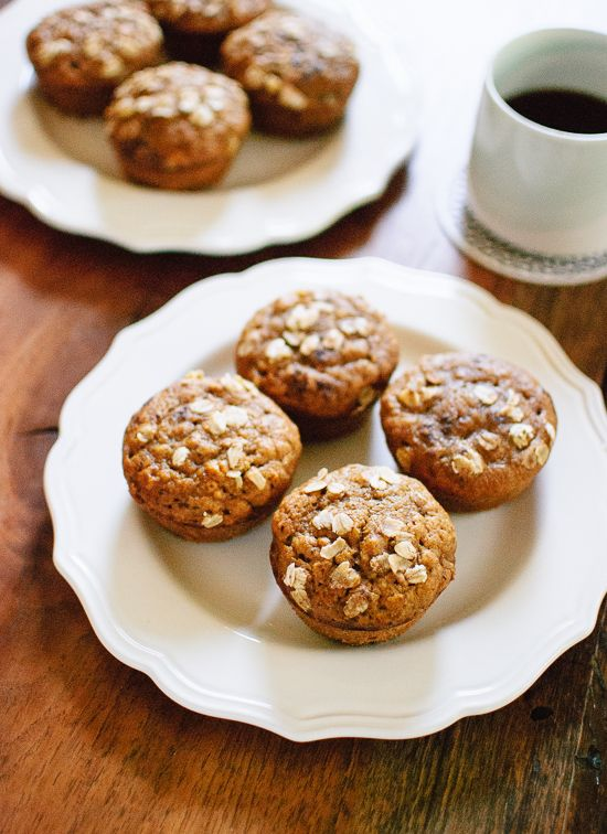 One bowl, maple-sweetened pumpkin muffins made with whole wheat flour, oats, coconut oil and spices! These healthy muffins are light, fluffy and delicious.