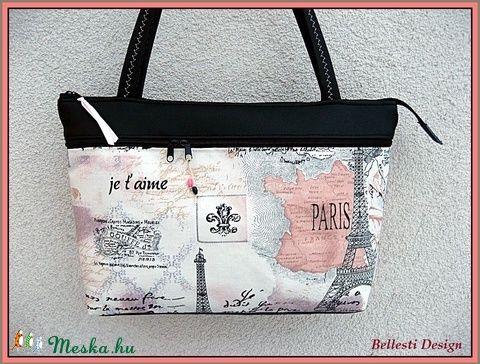 Párizs mintás női válltáska (BellestiDesign) - Meska.hu  #handmade #női #egyedi #divat #táska #design #bellestidesign #woman #fashion #bag #paris #párizs #eiffel #black
