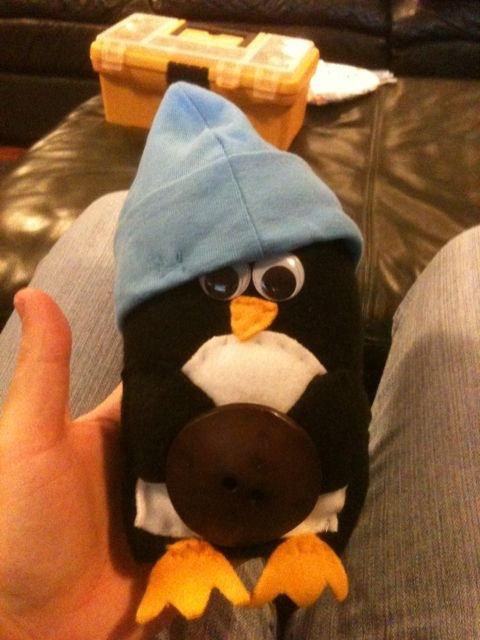 The Valentines gift I made for my boyfriend (who loves penguins): a stuffed penguin that I hand-sewed from fleece.