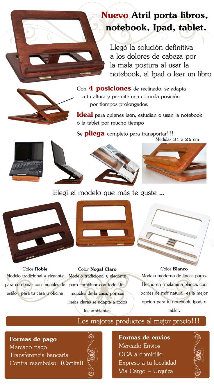 Atril De Madera Porta Notebook Netbook Ipad Tablet Y Libros - $ 279,99 en…