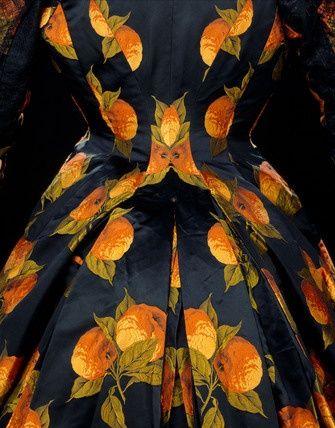 Wow: Oranges on Woman's dress, detail. Satin and silk. France, c.1889.