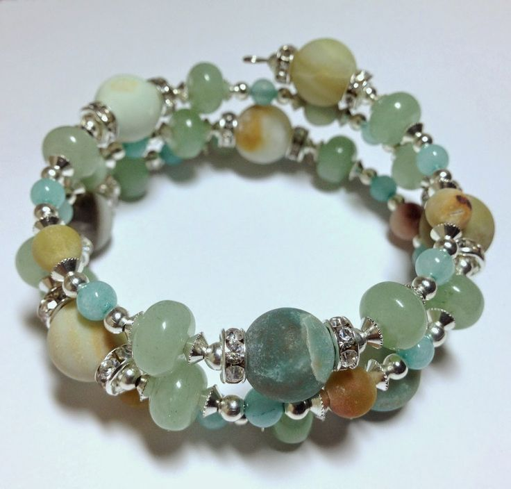 Artful Evidence - 10mm & 6mm Frosted Amazonite, 4mm Aqua Blue Amazonite, 8mm Green Aventurine Rondelles, Silver Plated Spacer Beads.