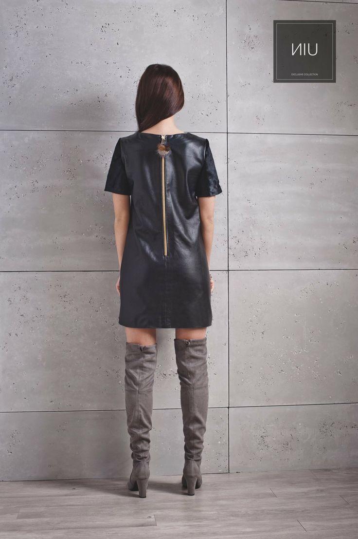 Leather BLACK dress. Pompom/Fur