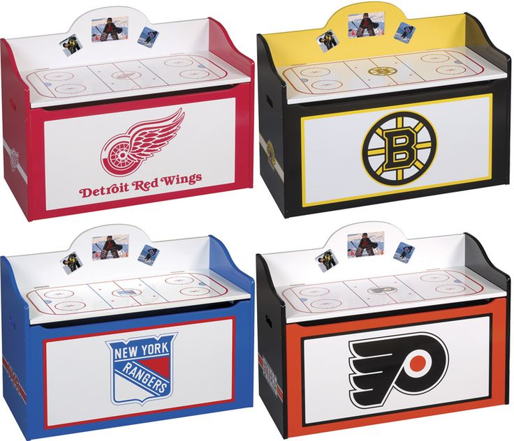 Hockey Toy Box and Storage Bench - Wooden NHL Toy Chest ...