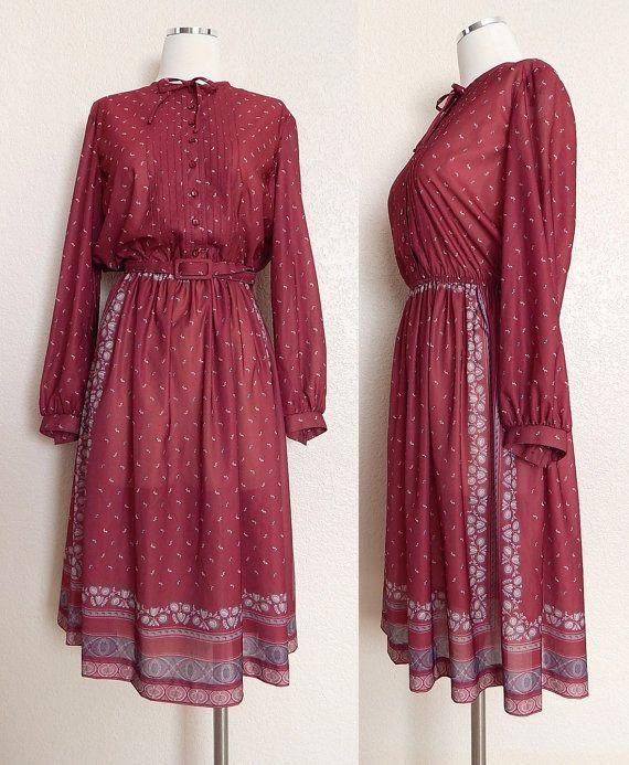 80s Scarf Print Secretary Dress by SadieBess, $24.00