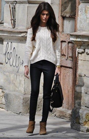 Favorite sweater! (by Mari Ana) http://lookbook.nu/look/4766453-Mango-Sweater-Zara-Shoes-Favorite-Sweater