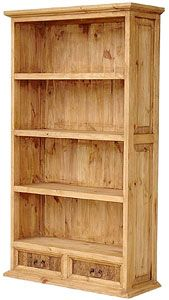 This hand made southwestern bookshelf is always a bargain, but now it's even more affordable.  The size of it will provide you with ample storage space for your library of books or it can double as display shelves for your personal collections. Use it in the kitchen for china and cookbooks and fill the two bottom drawers with utensils.